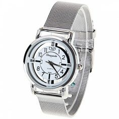 Chaoyada Quartz Watch with Arabic Numbers and Strips Indicate Steel Watch Band for Women - Silver in Women's Watches | DressLily.com