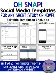 Are you looking for a way to engage your students in a fun & creative real world activity after reading a short story or novel? Look no further than the Oh Snap! Editable Social Media Templates that are designed for any content area in middle or high school classrooms. Teachers will LOVE that this product is little to no prep with a set of 17 pre-designed social media templates. In addition, there is also a set of 9 editable social media templates that allow teachers to customize the…