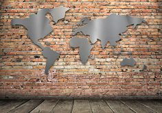 White Restaurant, World Map Wall Art, Wall Boxes, Steel Wall, Sweet Home, Wall Lights, Interior, Beautiful, Maps