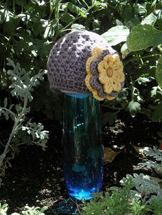 Lace baby beanie with removable flower accent!