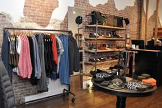 Industrial racks in mens clothing boutique New York