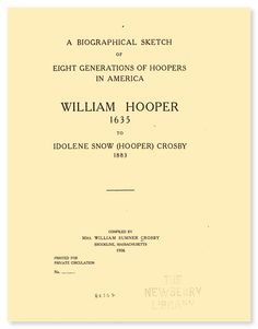 A Biographical Sketch of Eight Generations of Hoopers in America William Hopper 1635 | eBook available from RootsPoint for only $4.99.