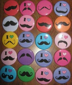 20 Pin Back Button Party Favors Mustache Party Theme 1.25 inch Buttons. $10.00, via Etsy.
