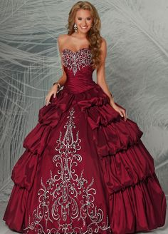 Aliexpress.com : Buy New Ball Gown Long Embroidery Sweetheart 2013 Quinceanera Dress Red