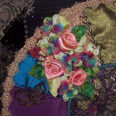 I ❤ crazy quilting . . . Julie E. completed block- Julie's creation is gorgeous. I love all the beautiful ribbon work and the beading is wonderful. Another fabulous block to add to our wall hanging.