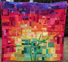 """This quilt is really special to me. You know I love making tree quilts , right?       """"Fall Spectrum"""" is based on a tree in my school's par..."""