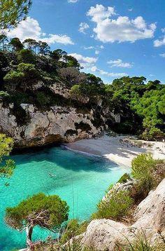Beach with emerald waters in Corfu