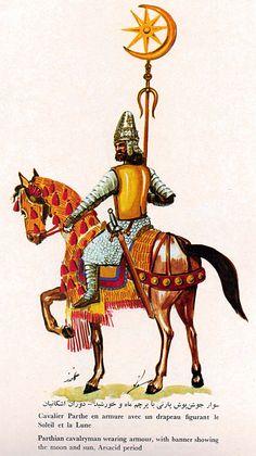 ((ARSACID - Parthian)) Moon and Sun Mitra Standard Bearer Cavalryman  Moon revolves around the Sun  Sun represents Mitra the Ancient Persian Sun Goddess