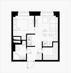 Studio Floor Plans, Small Floor Plans, Cabin Floor Plans, Bedroom Floor Plans, Small Apartment Layout, Small Apartments, Basement House Plans, Small House Plans, Compact House