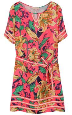 Rose Red Short Sleeve Lily Print Belt Silk Dress
