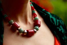 Turquoise, silver and Coral artisan necklace | What Happens When your Child Dresses You... for Real | Fake Fabulous