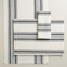 One of my favorite discoveries at WorldMarket.com: Black Villa Stripe Table Linen Collection