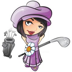 A vector illustration of a french girl with a golf club ready to play golf.