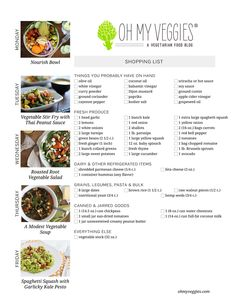 Vegetarian Meal Plan & Shopping List, including Spaghetti Squash with Garlicky Kale Pesto, Vegetable Stir Fry with Peanut Sauce + 3 more meatless meal ideas!