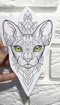 Tattoos And Body Art tattoo stencils Cat Eye Tattoos, Animal Tattoos, Love Tattoos, Body Art Tattoos, New Tattoos, Sphynx Cat Tattoo, Script Tattoos, Arabic Tattoos, Dragon Tattoos
