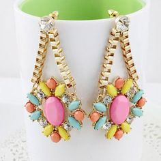 Cheap Wholesale Pair of Fashionable Shinning Faux Gem Embellished Openwork Earrings For Female (AS THE PICTURE) At Price 4.16 - DressLily.com