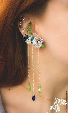 Кафф с хрусталем #jewelry #handmade #earcuffs #crystal