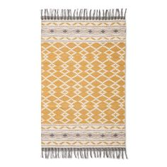 "The pretty pattern on the Yellow Abstract Woven Accent Rug (2'6""X4') from Threshold will bring a needed update to your home. This yellow and gray area rug has a decorative edge with fringe."