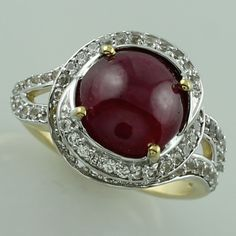Ruby 4.47 Ct Top Ring 10K Yellow Gold Awesome Genuine White Topaz Stone Jewelry #SGL #ExclusiveCollection
