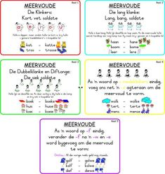 Meervoudreëls Available in Afrikaans only Afrikaans Language, 1st Grade Math Worksheets, School Notes, School Stuff, Study Notes, Preschool Learning, Classroom Inspiration, Classroom Ideas, Reading Skills