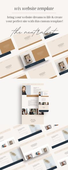 The NEUTRALIST Wix Website Template is a feminine, natural layout design, with beautiful, minimalist features. It's perfect for any service-based and/or product-based entrepreneur, freelancer or side-hustler. This template is completely customizable to fit the look of your brand and business! Check out our website templates today. | tinypinecreative.com Brand Identity Design, Brand Design, Branding Process, Business Checks, Business Journal, Starting Your Own Business, Business Management, Personal Branding, Website Template