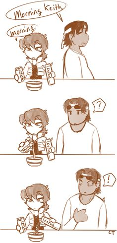 """spacebrigayde: """" captaintimber: """" proof that keith is an alien """" alternatively, he eats cereal with water because he's lactose intolerant """" i have proof you aint human Voltron Memes, Voltron Comics, Voltron Fanart, Form Voltron, Voltron Ships, Voltron Klance, Samurai, Power Rangers, Dreamworks"""