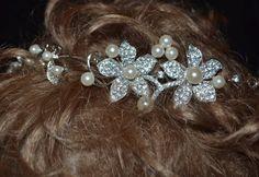 Silver Crystal Bridal Headpiece Wedding Hair by creatingwithni