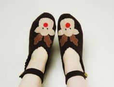 Deer Shoes Christmas Slipper Womens Slipper Deer by orangeknitting