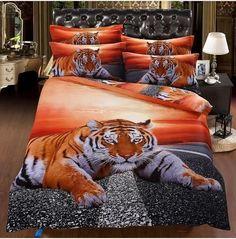 3D Orange Tiger on Highway 100% Organic Cotton Duvet Cover Set