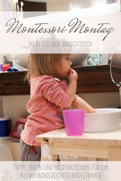 Durch den Montessori Waschtisch im Badezimmer haben wir mit einfachen und günstigen Mitteln eine neue Lern- und Erlebniswelt für unsere Tochter kreiert.
