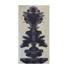 Unique Metallic Silver and Dark Navy Blue Contemporary Ink Blot Wallpaper For Sale