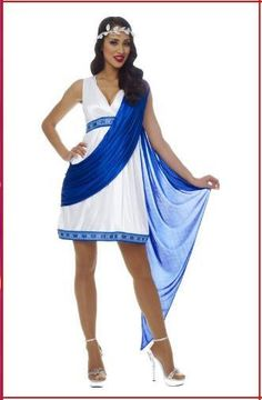 #48365 They will bow to your beauty as you walk in as this gorgeous Greek Goddess. Includes: Blue and White Dress, Attached Drape and Head Wreath Size: 4-6