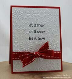 Ribbon and Embossed Christmas Card