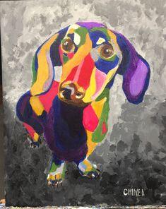Weenie Dogs, Doggies, Animals And Pets, Cute Animals, Dachshund Art, Dog Stories, Colorful Animals, Cartoon Pics, Animal Paintings