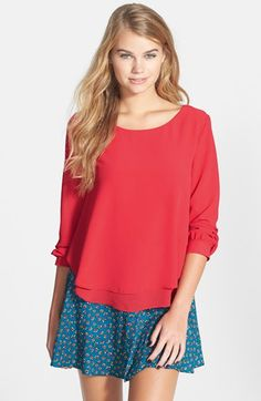 Free shipping and returns on Lush Layered Chiffon Blouse (Juniors) at Nordstrom.com. Two layers of rippling chiffon fashion a figure-skimming blouse finished with a winsome back keyhole.