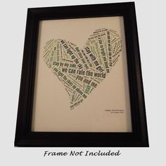 Song Lyric Art - Custom Gift For Boyfriend / Girlfriend / Husband / Wife / Friend / Wedding / Anniversary / Engagement / Birthday on Etsy, $19.92