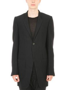 RICK OWENS Rick Owens Black Alpaca-wool-cotton Blend Single-breasted Coat.   rickowens  cloth   a04f60b6279b