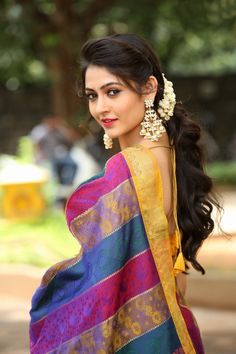 Shivangi stills at Aswamedham Movie Song Launch event held at Hyderabad. South Indian Actress Shivangi in saree photos at Aswamedham movie song launch. Actress Shivangi latest photos in saree. Beautiful Girl Indian, Beautiful Saree, Beautiful Indian Actress, Most Beautiful Women, Beautiful Actresses, Indian Photoshoot, Saree Photoshoot, Beauty Full Girl, Beauty Women