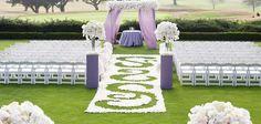 Reverse flower pedal design in outdoor ceremony aisle. The Lodge Torrey Pines La Jolla Wedding
