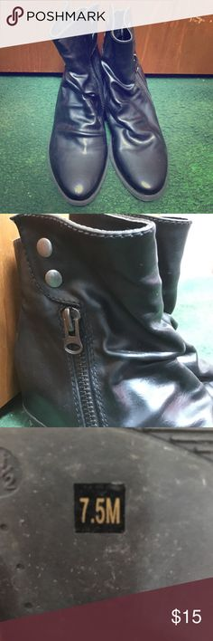 Black ankle boots Cute faux leather ankle boots. Worn once but a little big for me Diba Shoes Ankle Boots & Booties