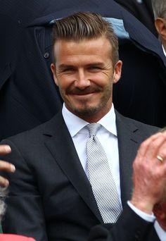 David Beckham watching the Wimbledon Men's Final.