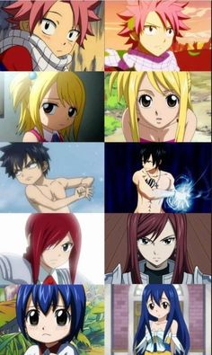 Fairy Tail - Characters names from top to bottom: Natsu Dragneel, Lucy Heartfelia, Gray Fullbuster, Erza Scarlet, and last but not least....Wendy Marvel!!