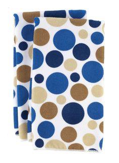 RITZ Microfiber Polka Dot Print 2 PC Towel Set Federal Blue $5.95 TOTAL! TOP BRANDS * LOWEST PRICES * FREE WORLD SHIPPING * CULINART WEBSITE: www.shopculinart.com