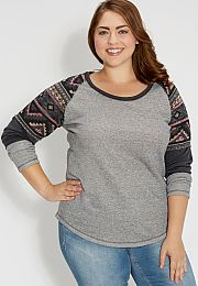 plus size french terry pullover with ethnic knit - maurices.com