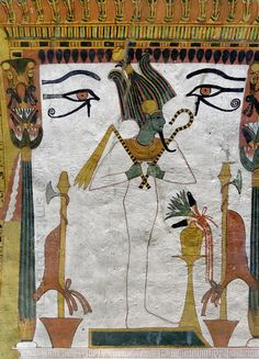 'Osiris in Sennedjem's tomb at Luxor.'  A mural on the northern wall of Sennedjem's tomb at Luxor shows a green faced Osiris standing in a k...