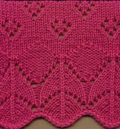 Discover thousands of images about MK lace scallop border Lace Knitting Stitches, Knitting Machine Patterns, Lace Knitting Patterns, Knitting Designs, Knitting Projects, Stitch Patterns, Knitting Help, Knitting Charts, Baby Knitting