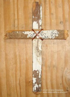 Hanging Rustic Decorative Cross Upcycled Wood Repurposed Copper Wire by IsleyCreations, $8.00