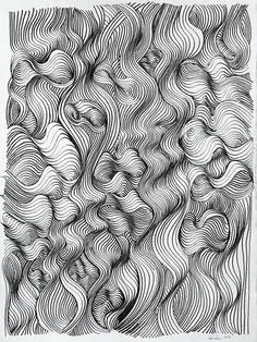 Ink Drawings Ken Resen 'Turbulence' pen and ink - Doodle Drawing, Contour Drawing, Line Drawing, Organic Forms, Zantangle Art, Illustrations, Illustration Art, Psy Art, Drawing Techniques