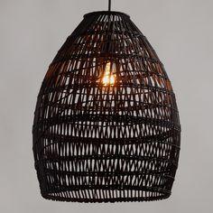 Black Woven Bamboo Pendant Lamp - Natural Fiber by World Market Pendant Chandelier, Hanging Pendants, Pendant Lighting, Drum Pendant, Basket Lighting, Black Basket, Black Bamboo, Affordable Home Decor, Home Lighting