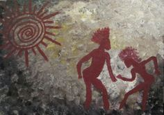Cavepainting of humans dancing under the sun  Would love to know it if anybody has some background on this one!!